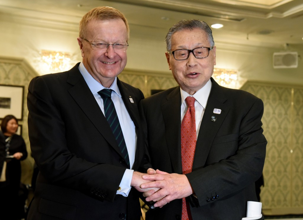 John Coates (left) and Yoshirō Mori pose together after the Coordination Commission meeting ©Getty Images