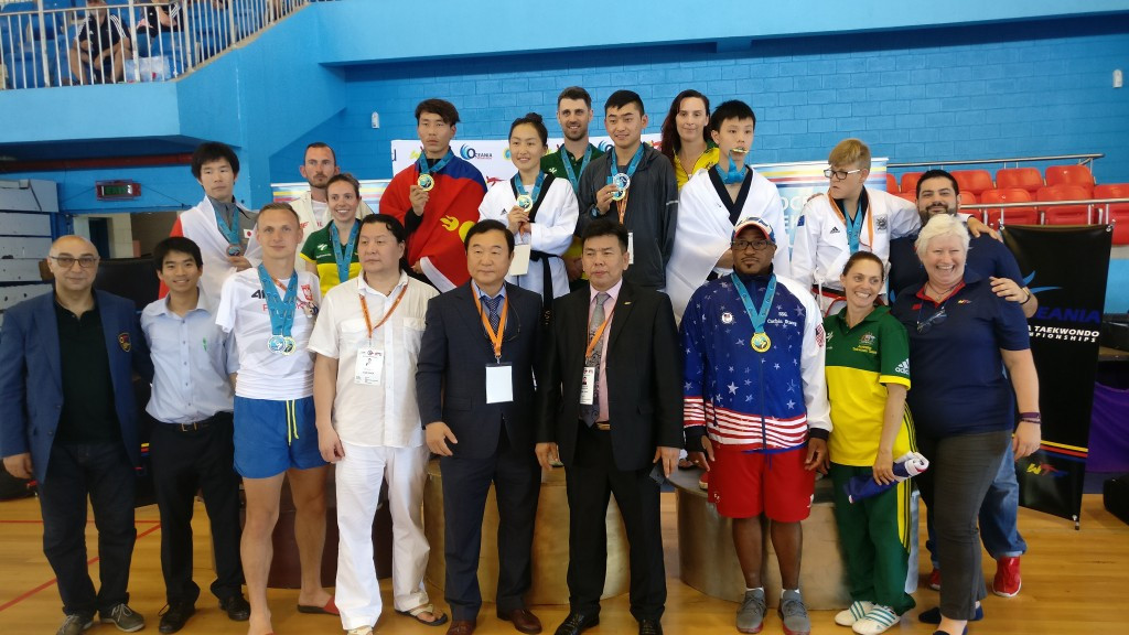 The medallists show off their prizes at the end of the Championships ©WTF