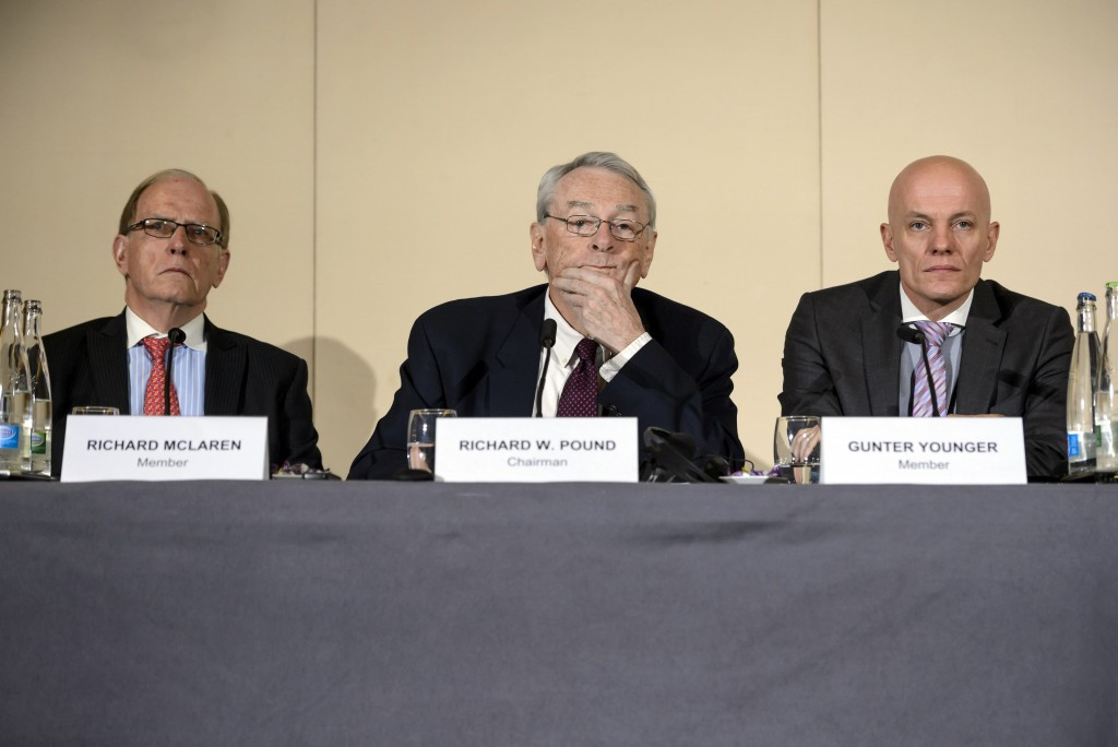 Barrister & Solicitor Richard McLaren, World Anti-Doping Agency (WADA) President Richard W Pound and Head of Department Cybercrime with Bavarian Landeskriminalamt (LKA) Guenter Younger are seen during the presentation before the press of a report on corruption and money-laundering within international athletics on November 9, 2015 in Geneva. © Getty Images
