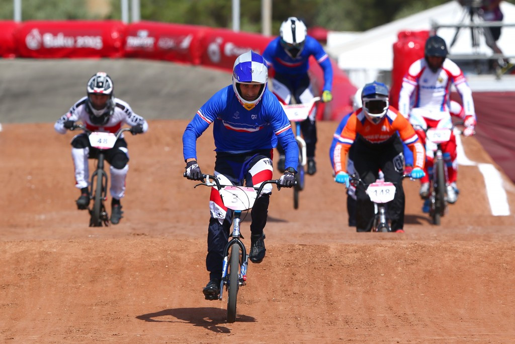Joris Daudet of France had to settle for the silver medal behind Dutch rider Niek Kimmann in round six of the International Cycling Union BMX Supercross World Cup in Saint Quentin-en-Yvelines ©UCI