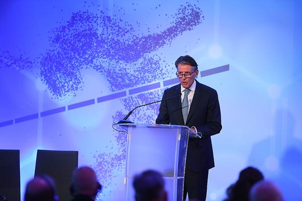 IAAF President Sebastian Coe addresses the IAAF Congress ©IAAF