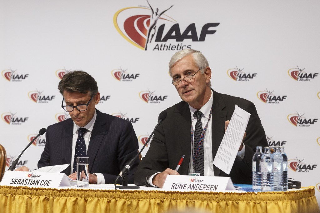 Rune Andersen, right, alongside IAAF President Sebastian Coe, has laid out new Verification Criteria for Russia's return to competition ©Getty Images