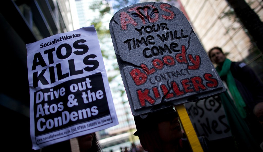 Campaign groups organised protests against Atos around the London 2012 Paralympics ©Getty Images