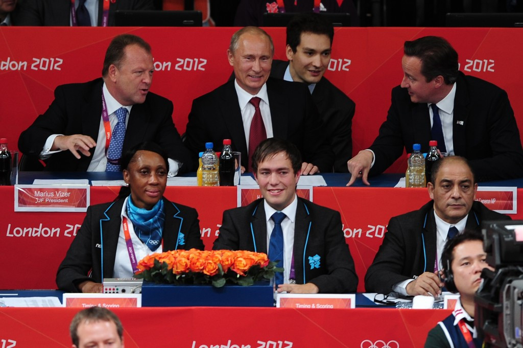 Marius Vizer, top left, alongside Russian President Vladimir Putin and British counterpart David Cameron during the London 2012 Olympic Games ©Getty Images