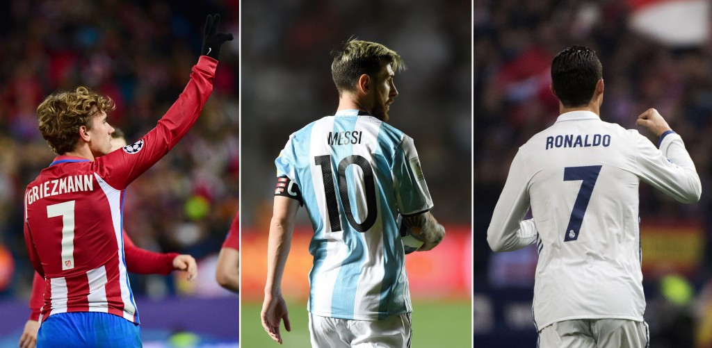 Antoine Griezmann, Lionel Messi and Cristiano Ronaldo are in the running for the men's award ©Getty Images
