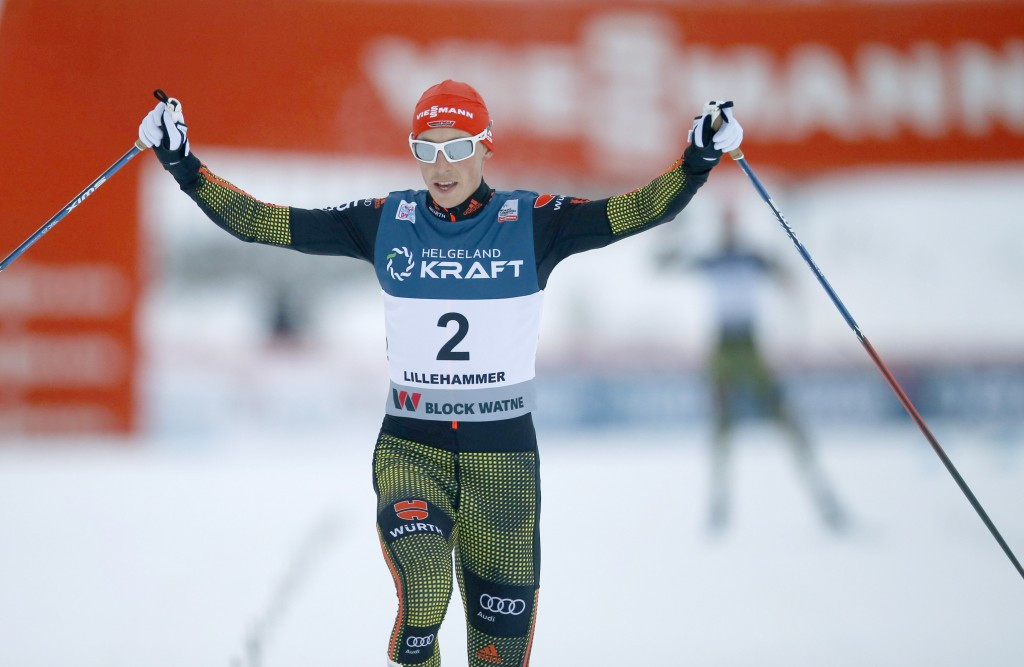 Germany's Eric Frenzel celebrates as he crosses the line in Lillehammer today ©Getty Images