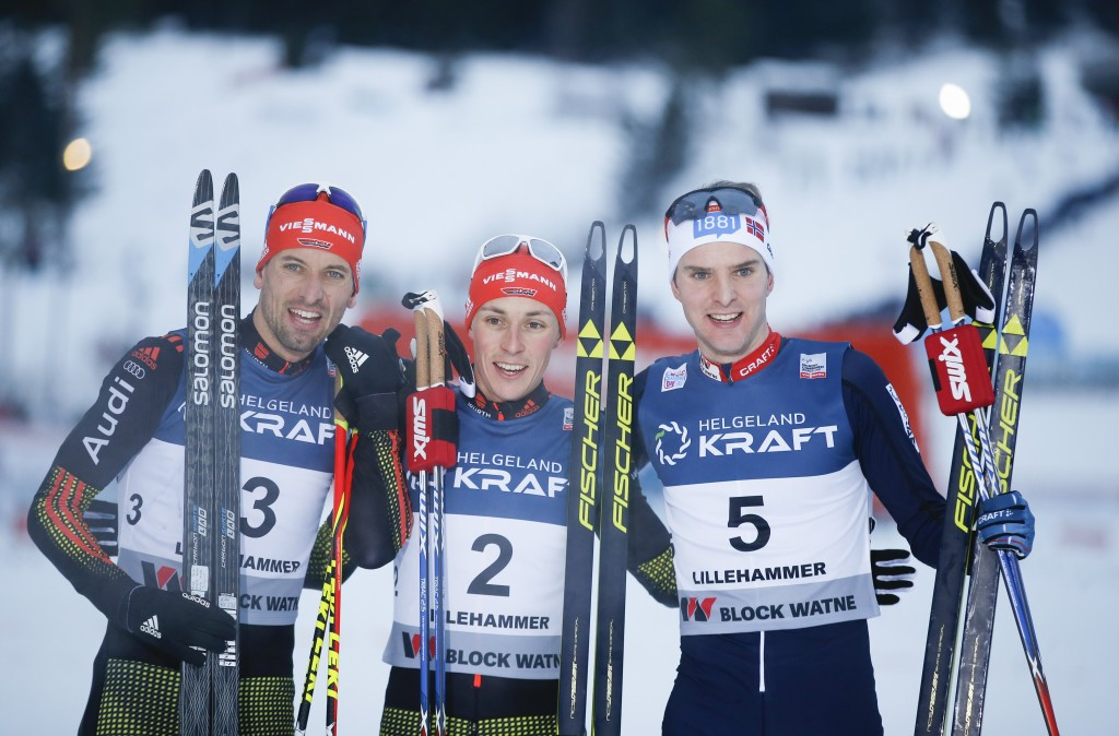 Bjoern Kircheisen, left, Eric Frenzel, centre, and Jørgen Graabak, right, pose after finishing on the podium ©Getty Images