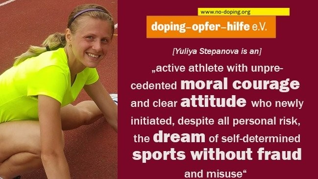 Doping-Opfer-Hilfe e.V. has paid tribute to Yuliya Stepanova ©Doping-Opfer-Hilfe e.V.