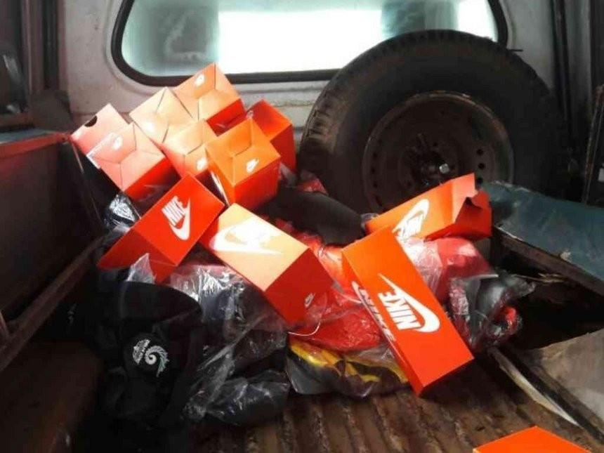 Nike kit seized from an apartment belonging to Ben Ekumbo ©Kenya Police Service