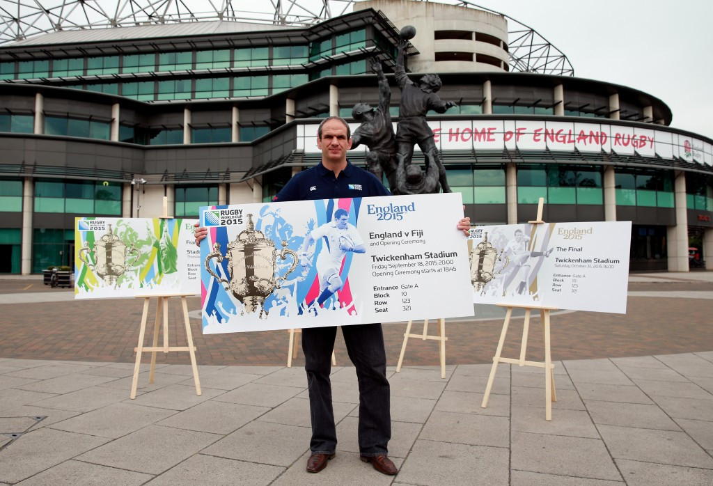 Former England captain and coach Martin Johnson has launched the official ticket design for this year's Rugby World Cup at Twickenham Stadium ©England 2015