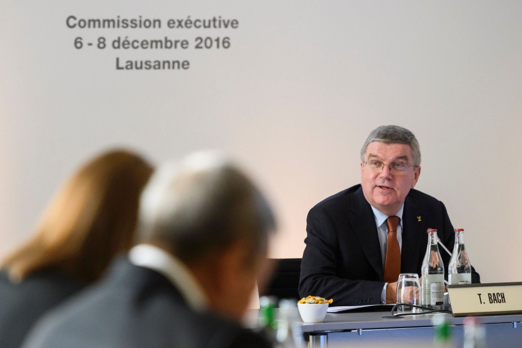 Thomas Bach appeared far more willing to criticise Russia when speaking today following the IOC Executive Board meeting ©Getty Images