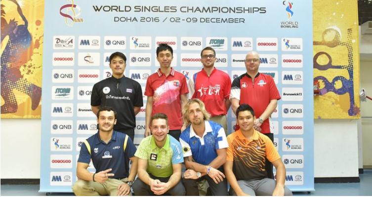 Qualifying leader Chris Via (back row, third from left) was one of eight men to successfully come through the first group phase of the World Bowling Singles Championships as action continued today at the Qatar Bowling Centre in Doha ©Terrance Yaw/Asian Bo
