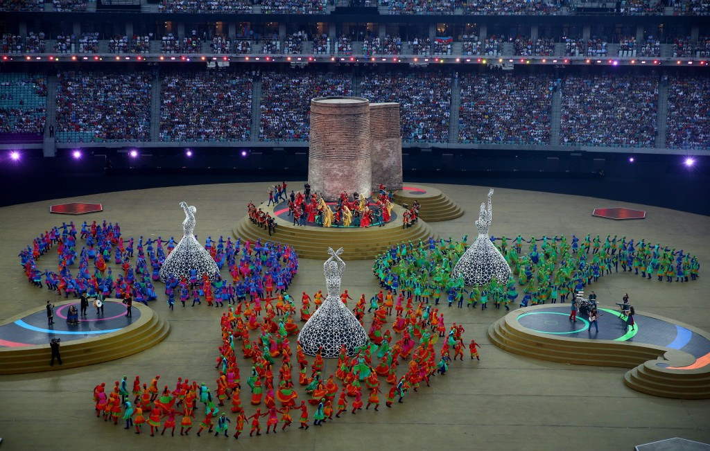 The Closing Ceremony began with a depiction of the Maiden Tower in Baku's Old City©Getty Images