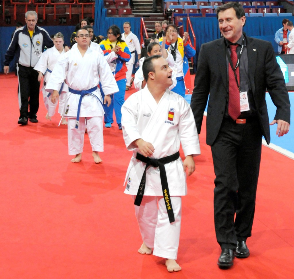 Former WKF chairman for persons with disabilities, Wolfgang Weigert, with Para-karate players in 2012 ©WKF