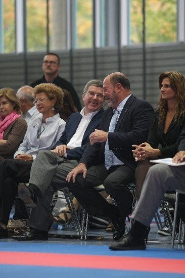 Current IOC President Thomas Bach alongside WKF  President Antonio Espinós during the 2007 Bavarian Open, a landmark event for Para-karate ©WKF