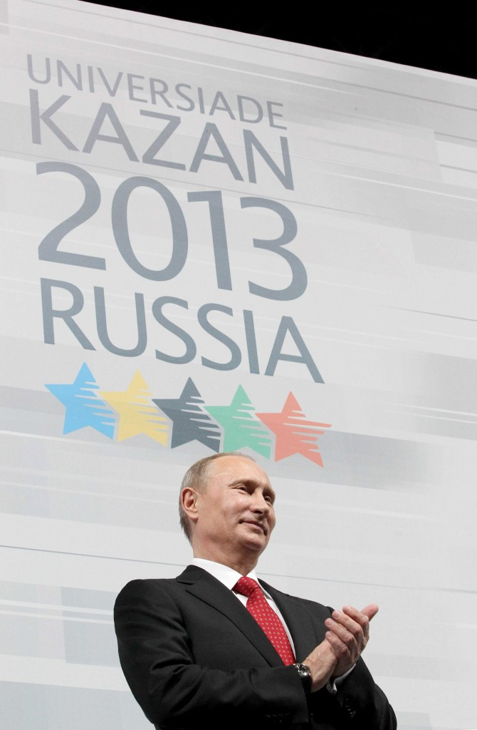 Kazan 2013, which was opened by Vladimir Putin, has been described as the testing ground for the sample-swapping scheme seen in Sochi ©Getty Images