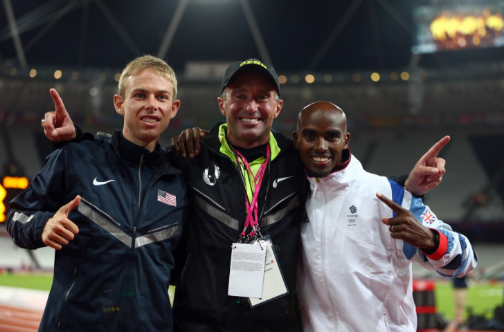 UK Anti-Doping is investigating allegations made by a BBC Panorma programme this month about coach Alberto Salazar, pictured centre with his athletes Galen Rupp (left) and Mo Farah at the London 2012 Games