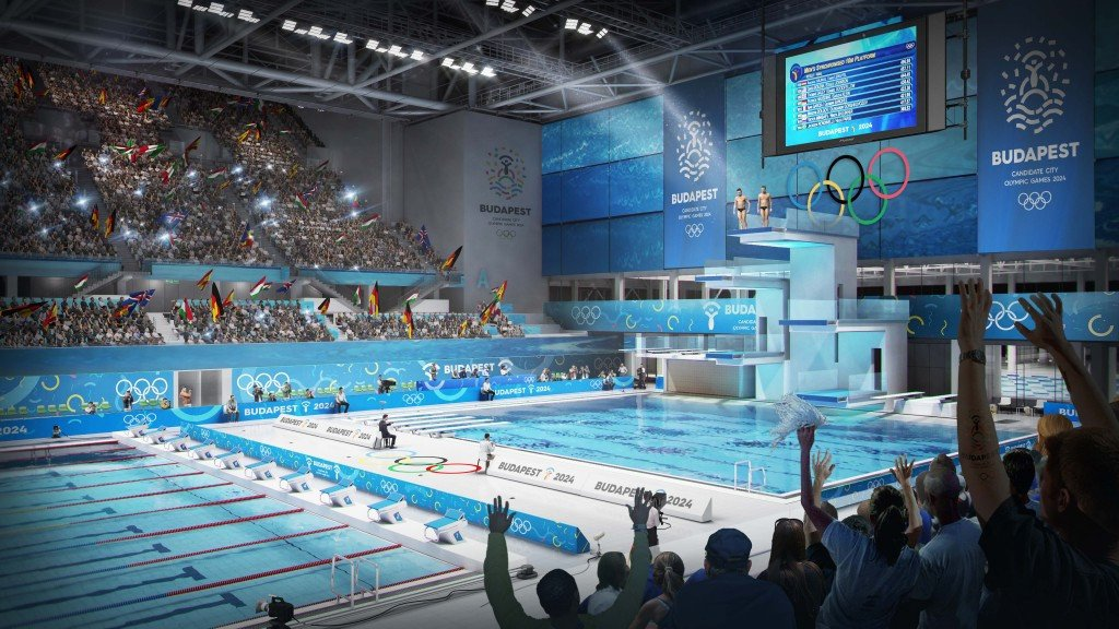 budapest 2024 have also unveiled computer generate images of the aquatics centre being built