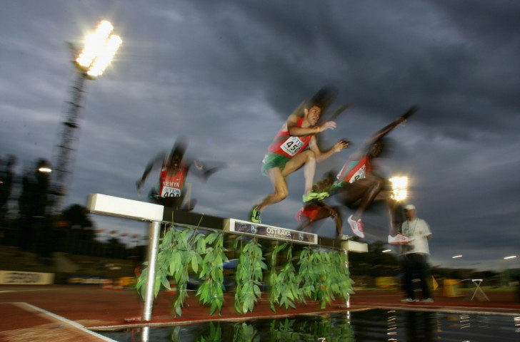 Abdellah Dacha, centre pictured en route to 2,000 steeplechase bronze at the 2007 World Youth Championships, was among six Moroccan athletes on the latest list of those sanctioned for doping offences ©Getty Images