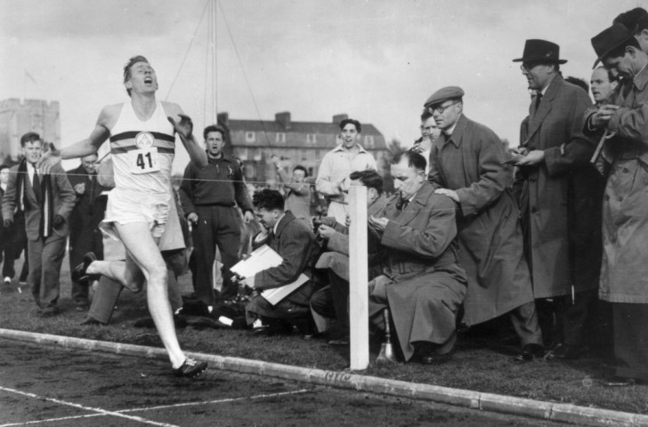 Roger Bannister breaks the four-minute mile on May 6, 1954 - as much a mental as a physical breakthrough. It could be the same in the marathon ©Getty Images
