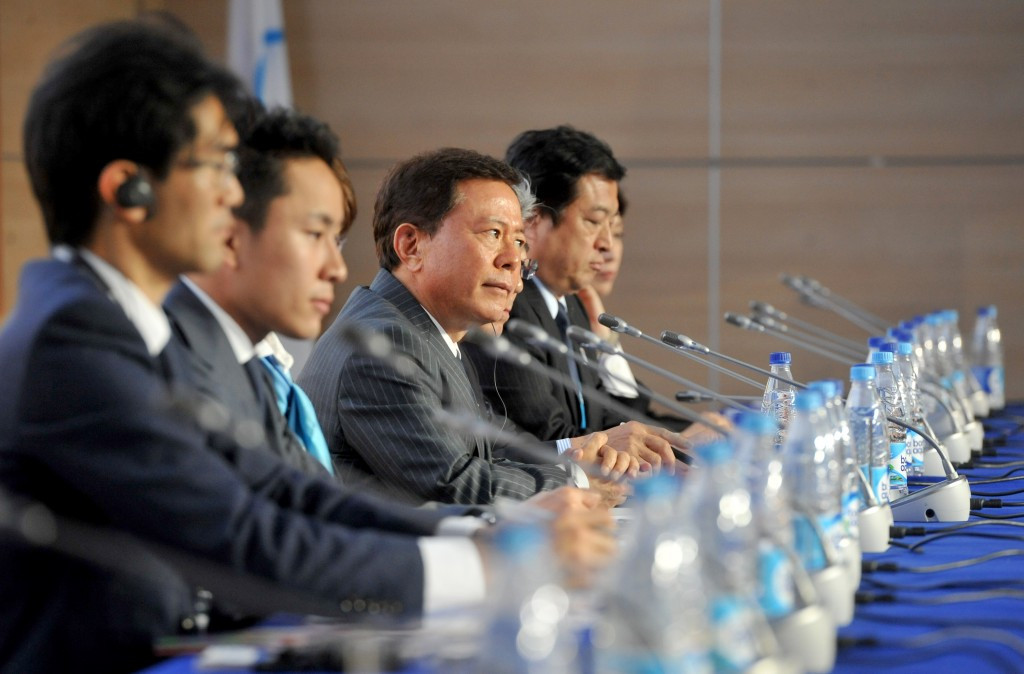 Tokyo 2020 pictured presenting at the 2013 SportAccord convention in Saint Petersburg ©Getty Images