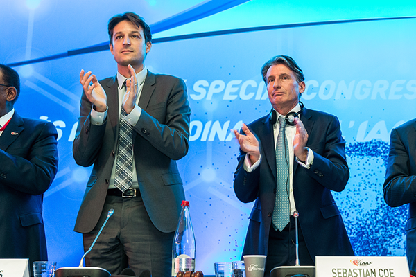 "Sebastian Coe, right, applauds after his proposal ""Time for Change"" was overwhelmingly passed by the IAAF Special Congress ©IAAF"