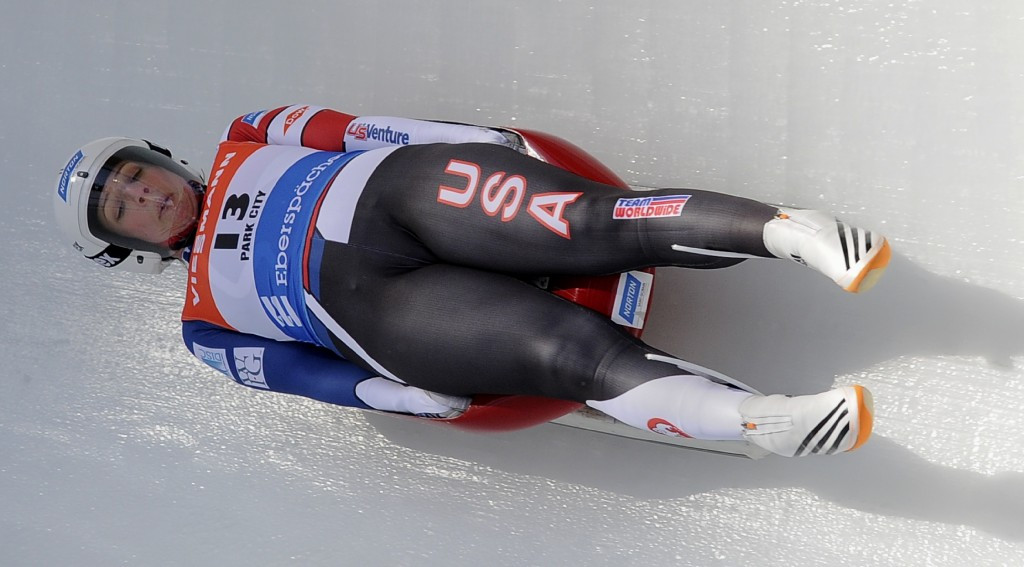 Erin Hamlin of the United States, bronze medallist at the Sochi 2014 Winter Olympic Games, took the women's World Cup race honours ©Getty Images