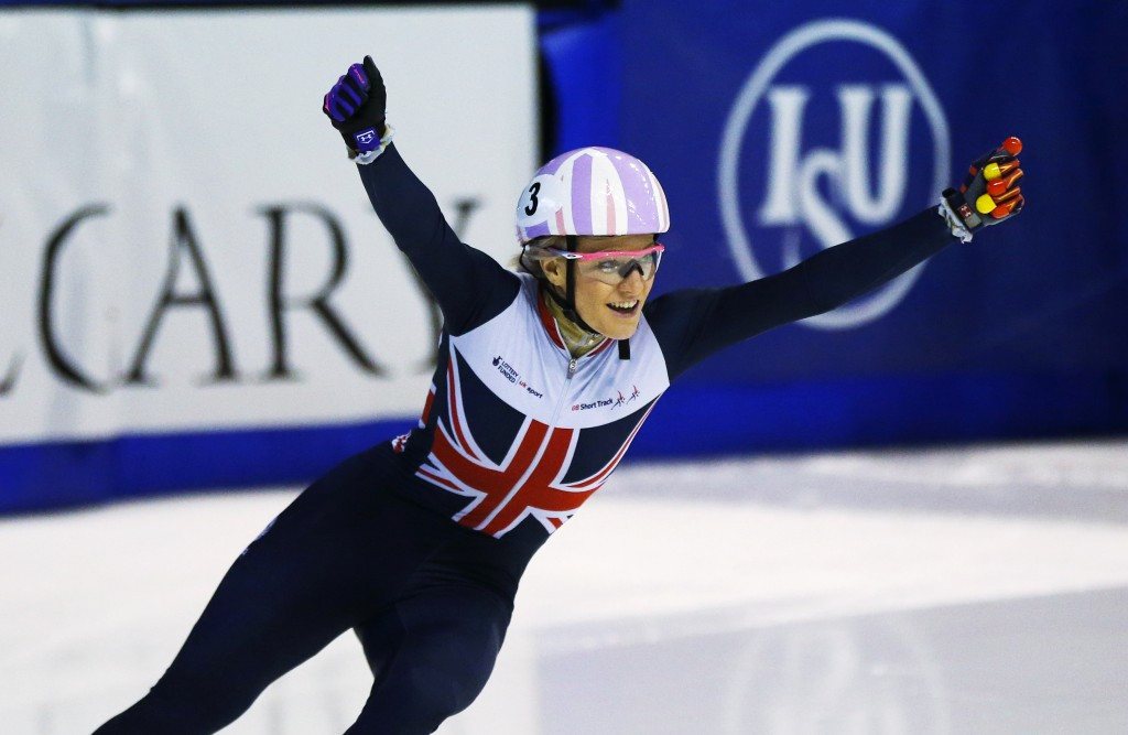 Britain's Elise Christie won gold again in the women's 1,000m race ©Getty Images