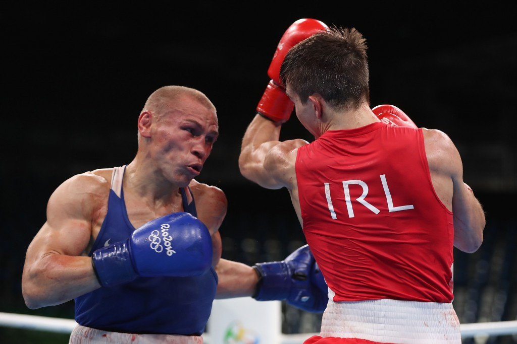 Michael Conlan, right, was controversially beaten by Vladimir Nikitin of Russia at Rio 2016 ©Getty Images
