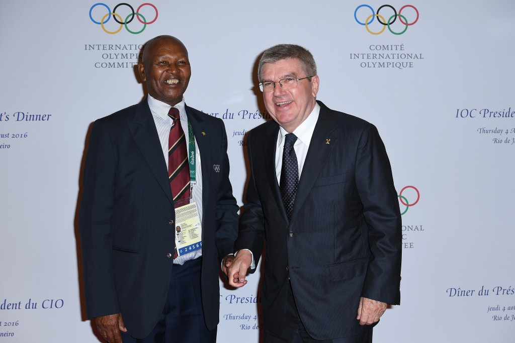 NOCK President Kipchoge Keino (left) alongside IOC counterpart Thomas Bach ©Getty Images