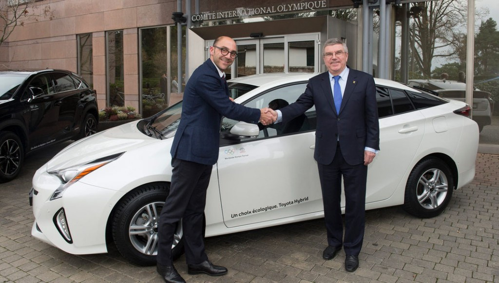 Toyota has delivered a new fleet of hybrid cars for the International Olympic Committee administration ©IOC/Arnaud Meylan