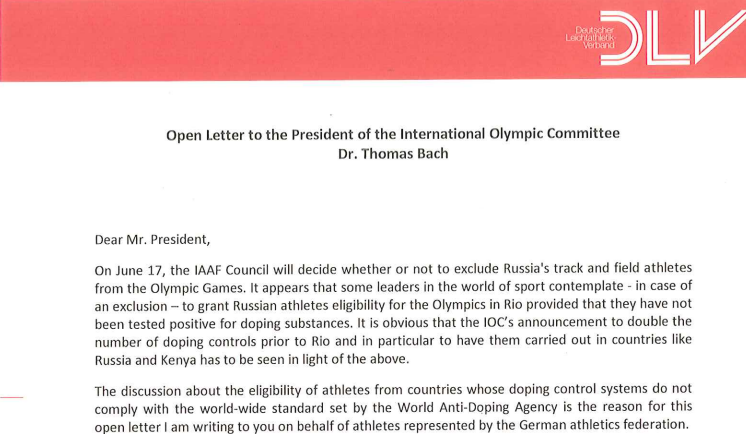 The start of a letter addressed to IOC President Thomas Bach from Clemens Prokop written in June ©DLV