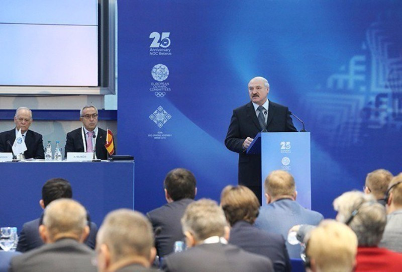 Belarus President Alexander Lukashenko was present at the EOC General Assembly where Minsk was awarded the European Games in October ©President of Belarus