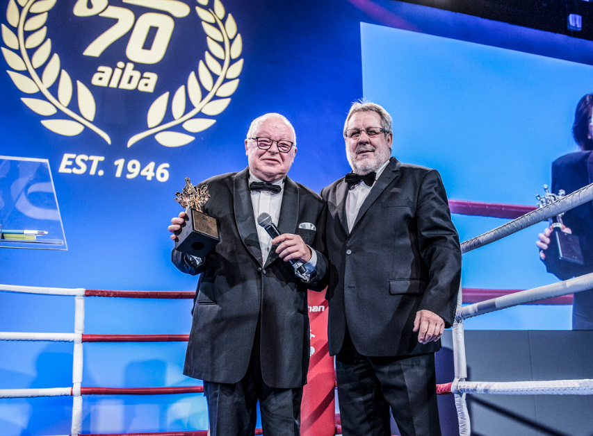 Germany's Helmut Ranze, left, won Best Supervisor for his role at Rio 2016 ©AIBA