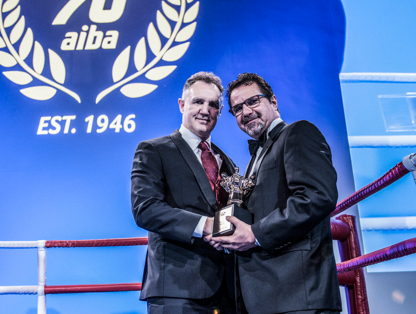 Irishman Billy Walsh, left, was voted AIBA Coach of the Year for his work with USA Boxing ©AIBA