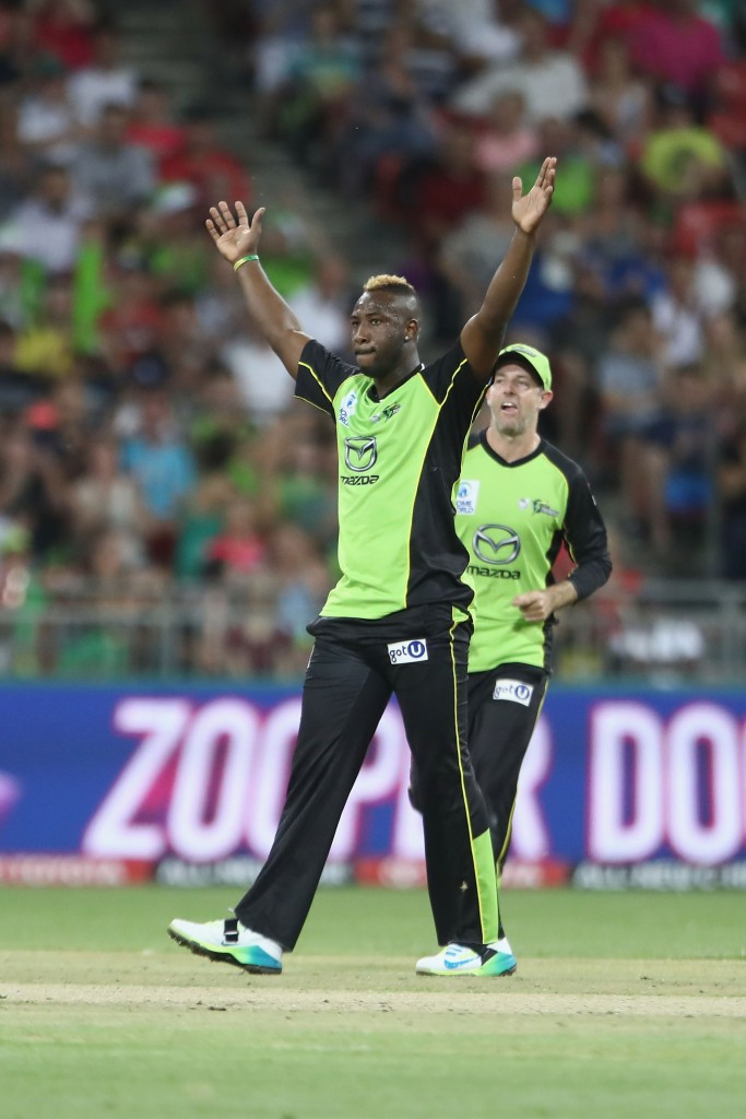 Andre Russell scored nine runs before taking one wicket for 27 runs for the Sydney Thunder in their loss to Sydney Sixers ©Getty Images