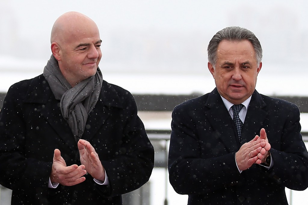 Vitaly Mutko (right) is vying for a place on the FIFA Council, which currently has 33 members, including FIFA President Gianni Infantino (left) ©Getty Images