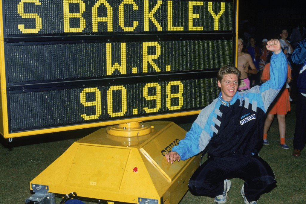 Steve Backley's javelin world record of 90.98 metres, set in July 1990, was ruled as ineligible just over a year later ©Getty Images