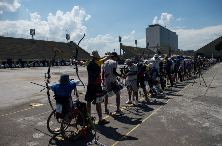 Rio's Sambodromo stadium, which annually hosts the Carnival parade, pictured during last year's national archery championships. It will be thronged next year with spectators following the progress of D'Almeida.