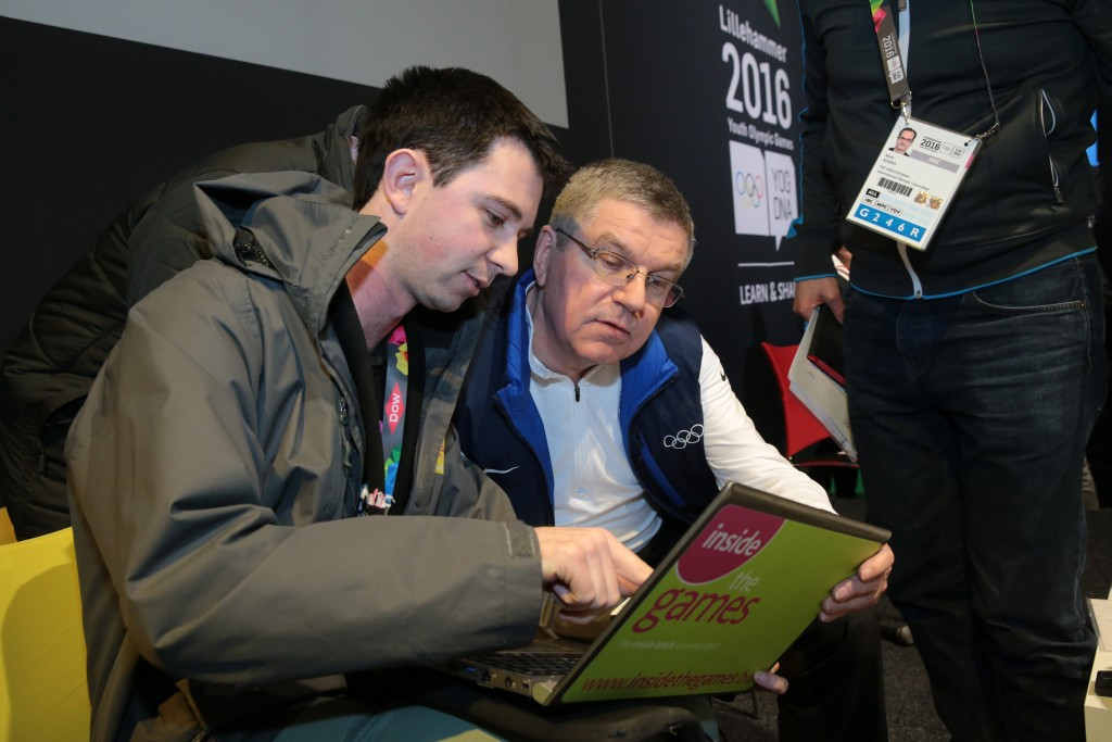 I enjoyed speaking with Thomas Bach during the Lillehammer 2016 Winter Youth Olympic Games ©IOC