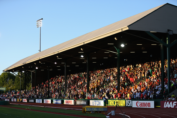 The main stand at Hayward Field in Eugene, Oregon which has been awarded the IAAF 2021 World Half Marathon Championships ©Getty Images