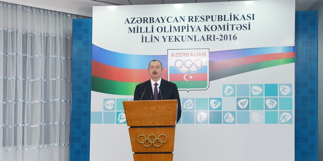 Azerbaijan's President Aliyev attends celebratory event at country's NOC headquarters