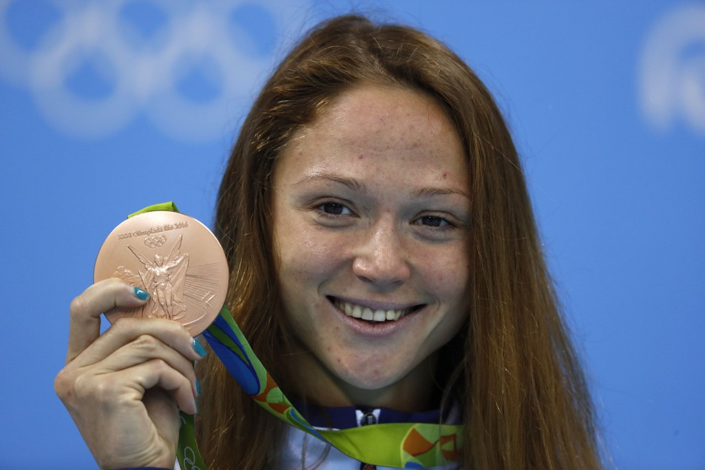 Belarusian Aliaksandra Herasimenia's bronze medal from the women's 50m freestyle is also not listed ©Getty Images