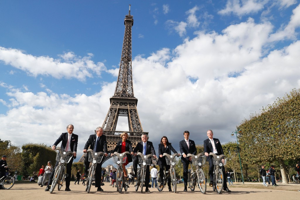 Paris 2024's co-bid leaders Bernard Lapasset (right) and Tony Estanguet (second right) have each delivered messages looking forward to 2017 ©Getty Images