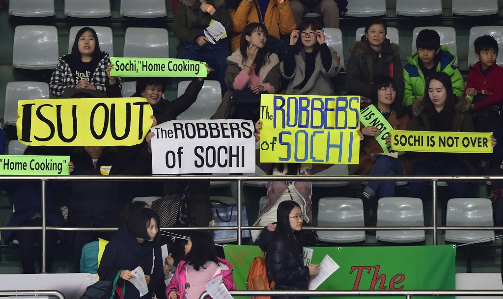 Fans of South Korea's Kim Yuna protest the ladies figure skating result at Sochi 2014 ©Getty Images