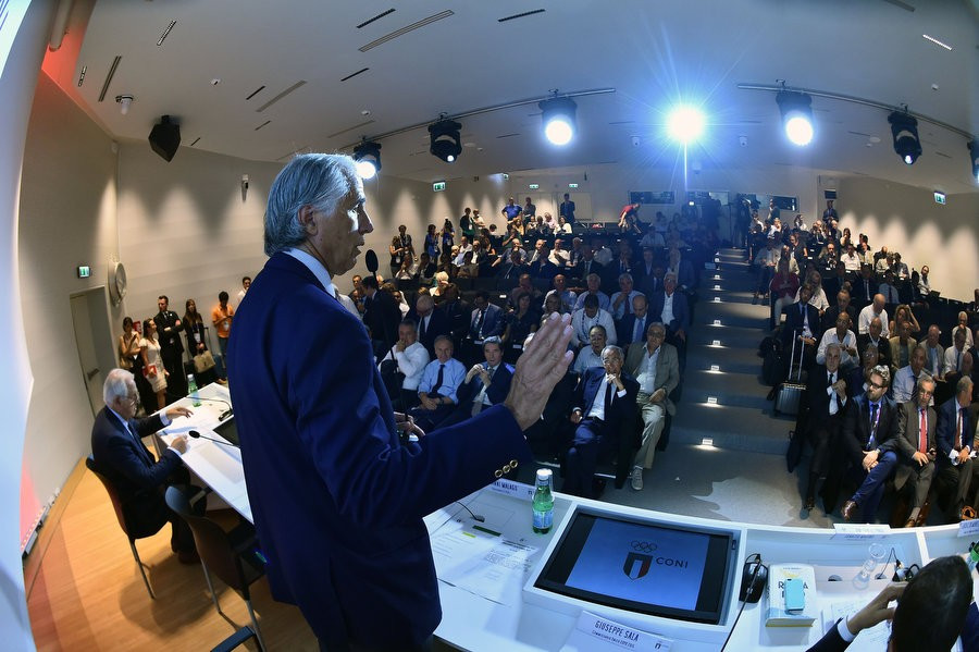 CONI President Giovanni Malagò addresses the meeting after it had unanimously voted to back Rome's bid to host the 2024 Olympics and Paralympics