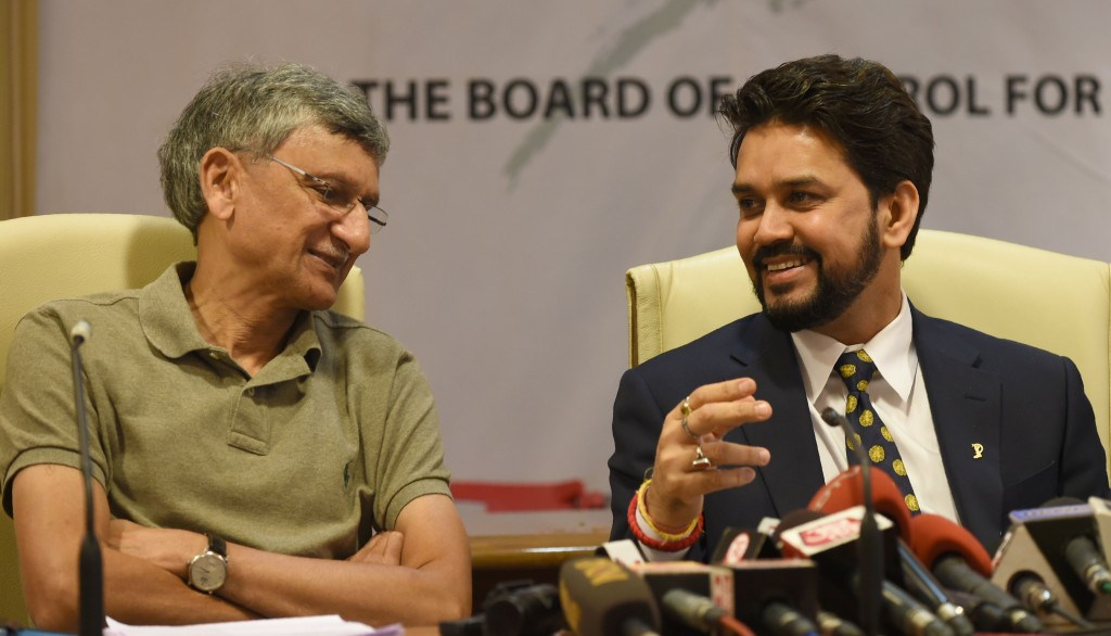BCCI secretary Ajay Shirke (left), pictured here with Anurag Thakur, has also been told to resign ©Getty Images