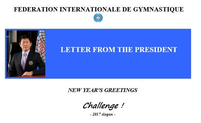 "Morinari Watanabe has used his New Year's message to urge the Member Federations of the governing body to take up a ""challenge"" in 2017 ©FIG"