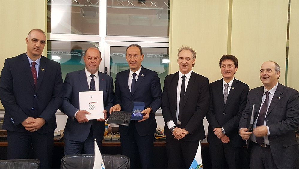 WKF President Antonio Espinós (second from left) has visited the headquarters of the San Marino NOC ©WKF