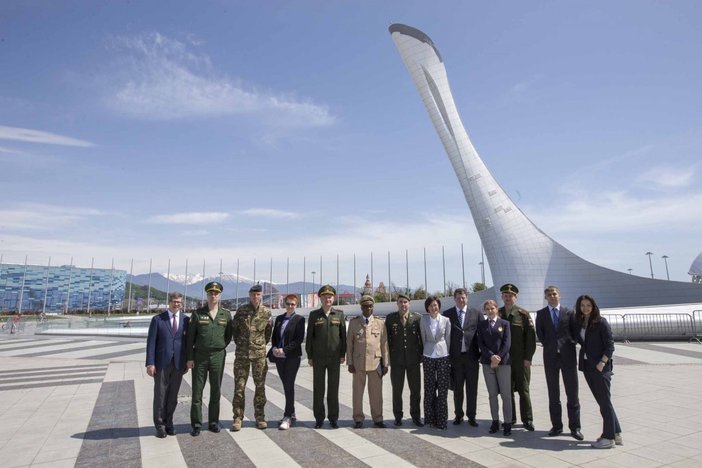 CISM officials pose in the Olympic Park during their visit to Sochi last month ©CISM